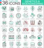 Vector генетика и линия значки биохимии плоская плана для apps и веб-дизайна Высокая технология химиката генетики бесплатная иллюстрация