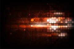 Vector геометрия в концепции технологии на темноте - оранжевая предпосылка Стоковые Изображения