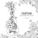 Vector гитара zentangle иллюстрации с цветками в рамке цветков, акустике, строках, doodle, zenart Взрослая расцветка Стоковые Фото