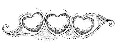Vector горизонтальная граница с 3 поставленным точки сердцем и богато украшенный шнурок в черноте изолированный на белой предпосы иллюстрация штока