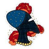 Vector голова профиля чужеземца с звездами в мозге и цветках Стоковое Изображение RF