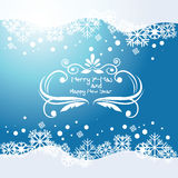 Vector голубая предпосылка с снежинками и завейте элемент Стоковое Изображение RF