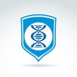 Vector голубой экран с молекулами дна закрутите в спираль, работа анализа дна Стоковые Изображения