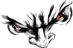 Vector демон стороны с сердитой красной иллюстрацией глаз иллюстрация вектора