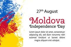 Vector День независимости Молдавии иллюстрации, Moldavian флаг в ультрамодном стиле grunge Шаблон дизайна 27-ое августа для иллюстрация штока