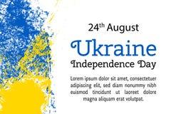 Vector День независимости Украины иллюстрации, украинский флаг в ультрамодном стиле grunge Шаблон дизайна 27-ое августа для плака Стоковое Изображение