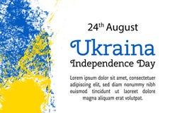 Vector День независимости Ukraina иллюстрации, украинский флаг в ультрамодном стиле grunge Шаблон дизайна 27-ое августа для плака Стоковые Изображения