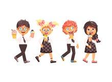Vector дети характеров иллюстрации изолированные шаржем, зрачки, школьники, школьницы съешьте мороженое, ваниль иллюстрация штока