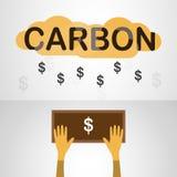 Vector дизайн в концепции оценки углерода на серой задней части градиента Стоковые Фото