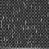 Vector дождь на прозрачной предпосылке, реалистическом влиянии Естественные осадки погоды ливня пузыри на лужицах Стоковое Изображение