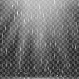 Vector дождь с теплым световым эффектом, лучами солнца, лучами на прозрачной предпосылке, реалистическом влиянии Естественная пог Стоковые Изображения