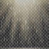 Vector дождь с теплым световым эффектом, лучами солнца, лучами на прозрачной предпосылке, реалистическом влиянии Естественная пог Стоковое Изображение RF
