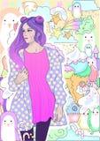Vector девушка моды с розовыми волосами в теплой куртке на предпосылке мороженого, зимы и пингвинов иллюстрация штока