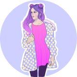 Vector девушка моды с розовыми волосами в теплой куртке бесплатная иллюстрация