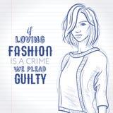 Vector девушка одетая в сорванных джинсах, свитер битника, ботинки суда с сумкой муфты в его руке, эскизе на тетради Стоковое фото RF