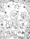 Vector девушка zentangl иллюстрации, женщина с собакой в море, праздник, перемещение Стоковые Фотографии RF