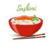 Vector еда Японии - сасими в красном шаре Семги бесплатная иллюстрация