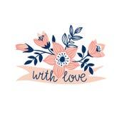 Vector лента нарисованная рукой с цветками и стильной фразой - & x27; с love& x27; Стоковые Изображения