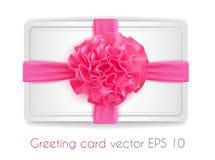 Vector лента реалистического пинка 3d silk при изолированный смычок Стоковое Фото