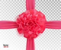Vector лента реалистического пинка 3d silk с предпосылкой смычка прозрачной Стоковые Изображения RF