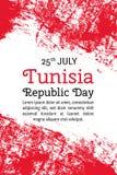 Vector день республики Туниса иллюстрации, тунисский флаг в ультрамодном стиле grunge Шаблон дизайна 25-ое июля для плаката иллюстрация штока