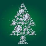 Vector дерево диамантов на зеленой предпосылке Стоковая Фотография