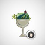 Vector десерт эскиза очень вкусный в стеклянном шаре Стоковая Фотография RF