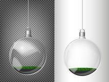 Vector ель рождества и реалистический прозрачный серебряный шарик рождества на светлой абстрактной предпосылке Стоковое Фото