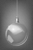 Vector ель рождества и реалистический прозрачный серебряный шарик рождества на светлой абстрактной предпосылке Стоковое Изображение RF