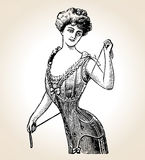 vector женщина сбора винограда Стоковые Изображения RF