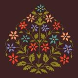 Vector завод красочной иллюстрации симметричный зацветая с цветками и лист Стоковые Изображения