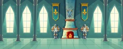 Vector зала замка, интерьер королевского бального зала иллюстрация штока