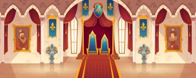 Vector зала трона замка, интерьер королевского бального зала иллюстрация вектора