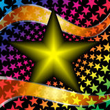Vector звезда с оранжевыми лентами на черном backgro Стоковые Изображения RF