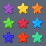 Vector звезды цвета шаржа лоснистые, сияющие кнопки Стоковое Изображение RF