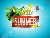 Vector здравствуйте! иллюстрация летнего отпуска типографская с toucan птицей на винтажной деревянной предпосылке засаживает троп бесплатная иллюстрация