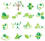 Vector зеленые значки логотипа листьев, дизайны экологичности Стоковые Фотографии RF