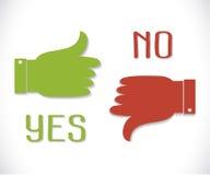 Vector зеленый большой палец руки вверх по значку и красный большой палец руки вниз с тенью Стоковая Фотография