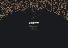 Vector знамя дерева какао, золотой листвы, фасоли бесплатная иллюстрация