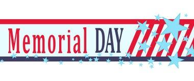 Vector знамя Дня памяти погибших в войнах с звездами, нашивками и литерностью Шаблон на День памяти погибших в войнах Стоковое Изображение