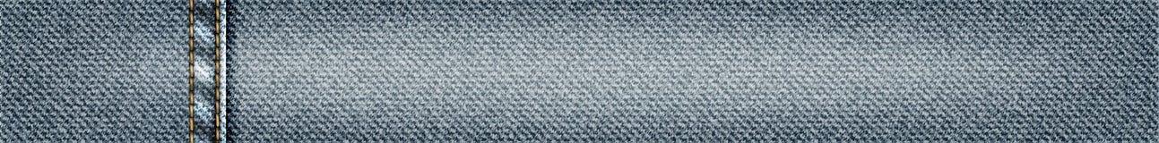Vector знамя джинсов horisontal с шить, реалистическая иллюстрация ткани джинсовой ткани, текстура джинсовой ткани Стоковое Фото