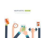Vector значки здоровых образа жизни, фитнеса и физической активности Стоковое Изображение RF