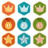 Vector значки достижения - золото, серебр, бронза бесплатная иллюстрация