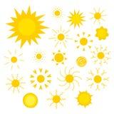 Vector значки солнец различных форм в плоском стиле Стоковое фото RF