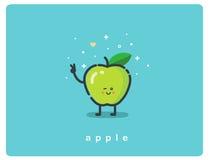 Vector значок зеленого яблока, персонажа из мультфильма плодоовощ смешного Стоковое Изображение RF
