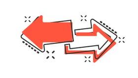 Vector значок стрелки шаржа выведенный и правый в шуточном стиле передне иллюстрация вектора