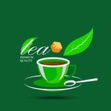 Vector значок чашки и сахара зеленого чая Стоковое Изображение RF