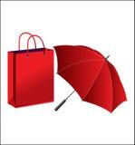 Vector зонтик и бумажный мешок Стоковые Изображения RF