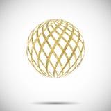 Vector золотой текстурированный шарик сферы с орнаментом и нашивками Стоковые Изображения