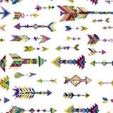 Vector дизайн акварели безшовный с стрелками в этническом стиле Стоковые Фото
